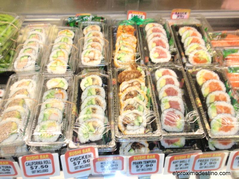 Puesto de sushi en Sidney Fish Market
